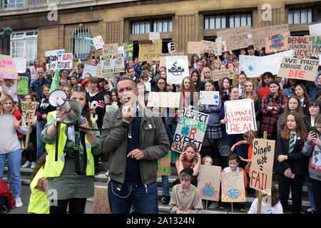 School Strike for Climate, Norwich, UK, Friday 20 September 2019 - Norwich South Labour MP Clive Lewis speaking - Stock Photo