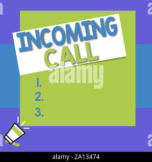 Conceptual hand writing showing Incoming Call. Concept meaning Inbound Received Caller ID Telephone Voicemail Vidcall Big square rectangle stick above - Stock Photo