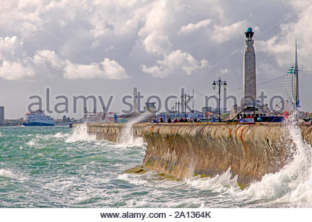 Stormy seafront, Southsea, Hampshire - Stock Photo