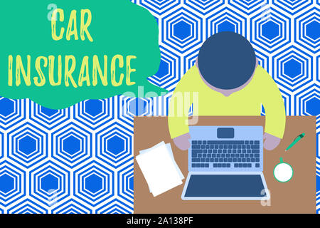 Text sign showing Car Insurance. Business photo showcasing Accidents coverage Comprehensive Policy Motor Vehicle Guaranty Upper view young man sitting - Stock Photo