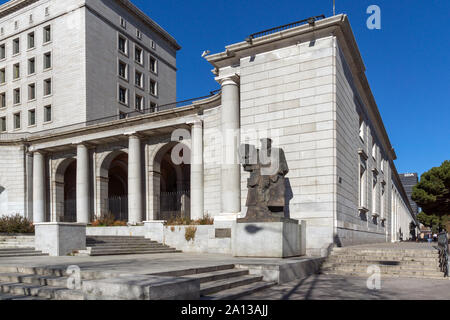 MADRID, SPAIN - JANUARY 21, 2018:  Monument in front of Ministry of Employment and Social Security in City of Madrid, Spain - Stock Photo