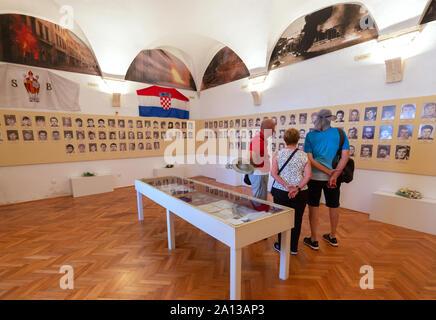 Memorial room of the Dubrovnik Defenders; those who died in The Siege of Dubrovnik 1991, Croatian War of Independence, Sponza Palace Dubrovnik Croatia - Stock Photo