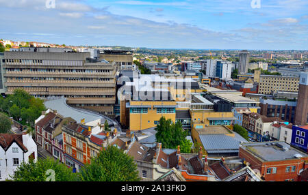 Skyline view over of central Bristol with building of Bristol Royal Infirmary and St Michael's Hill in foreground, UK - Stock Photo