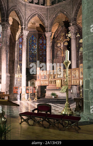 Dinant, Namur / Belgium - 11 August 2019: inside view of the Notre Dame cathedral in Dinant with a view of the high altar - Stock Photo