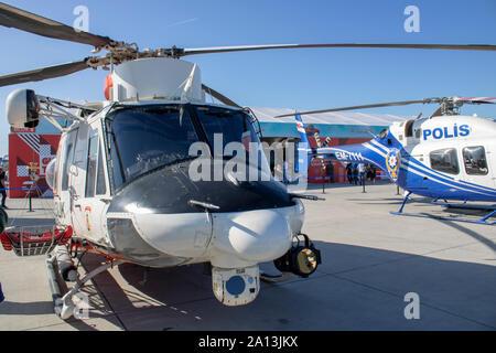 Istanbul, Turkey - September-22,2019: Coast Guard and polish helicopter close-up - Stock Photo