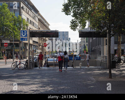 DUESSELDORF, GERMANY - CIRCA AUGUST 2019: Heinich Heine Allee is the central subway station for the Altstadt (old town) - Stock Photo