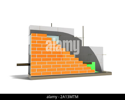 Wall construction drip edge terminal board device removing drops front left 3d rider on white background with shadow - Stock Photo