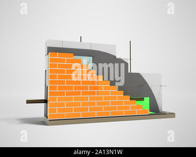 Wall construction drip edge terminal board device removing drops front left 3d rider on gray background with shadow - Stock Photo