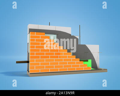 Wall construction drip edge terminal board device removing drops front left 3d rider on blue background with shadow - Stock Photo
