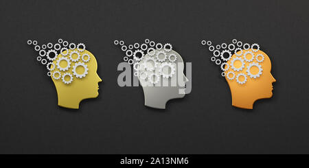Three Head gears group concept of memory training logo. Abstraction of thinking mind. This illustration serves as idea of teamwork mind working think - Stock Photo