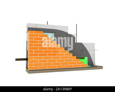 Wall construction drip edge terminal board device removing drops front left 3d rider on white background no shadow - Stock Photo