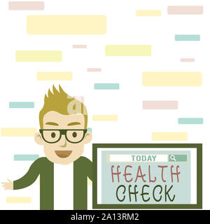 Writing note showing Health Check. Business concept for Medical Examination Wellness and general state Inspection Male Speaker Monitor with Search Too - Stock Photo