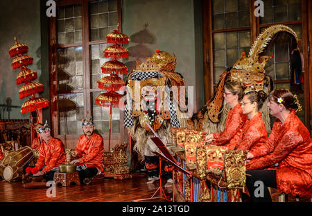 Gamelan is the traditional ensemble music of Javanese, Sundanese, and Balinese in Indonesia, made up predominantly of percussive instruments. - Stock Photo