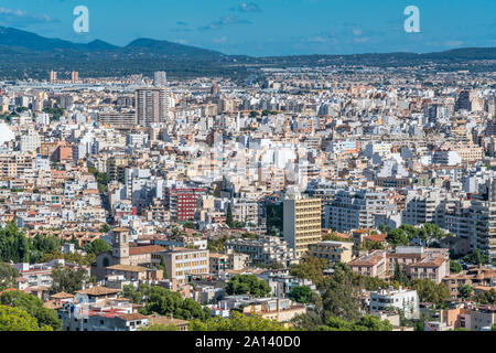 Aerial view of city of Palma de Mallorca skyline from Bellver Castle (Castell de Bellver) - Stock Photo