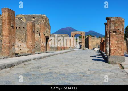 Ruins of the ancient Roman city of Pompeii, Italy - Stock Photo