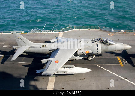 An EAV-8B+ of the Spanish Navy prepares for take-off from aircraft carrier. - Stock Photo