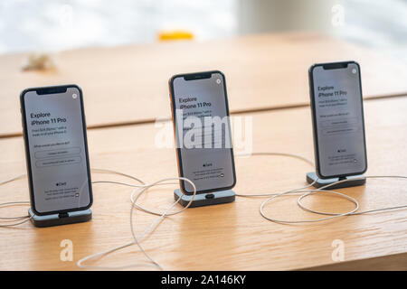 Aventura, Florida, USA - September 20, 2019: The iPhone 11, 11 Pro and Pro Max are displayed as the new smartphone by Apple goes on sale on the first - Stock Photo