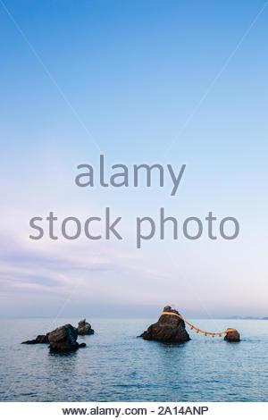 Meoto Iwa Rocks in Futami, Mie Prefecture, Japan - Stock Photo