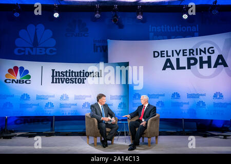 Vice President Mike Pence participates in a fireside chat with Joe Kernen of CNBC News during the 9th Annual Delivering Alpha 2019 Conference Thursday, Sept. 19, 2019, at the Pierre Hotel in New York. People: Vice President Mike Pence Credit: Storms Media Group/Alamy Live News - Stock Photo