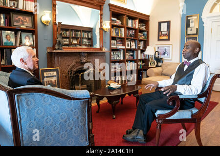 Washington, United States Of America. 17th Sep, 2019. Vice President Mike Pence meets with United States Senate Chaplain Barry Black Tuesday, Sept. 17, 2019, at the United States Capitol in Washington, D.C People: Vice President Mike Pence, Barry Black Credit: Storms Media Group/Alamy Live News - Stock Photo