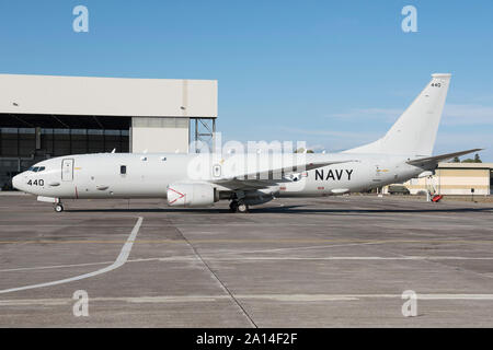 U.S. Navy P-8A Poseidon on ramp at Naval Air Station Sigonella, Sicily, Italy. - Stock Photo