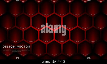Abstract red banner on black hexagon pattern design modern futuristic background vector illustration. - Stock Photo