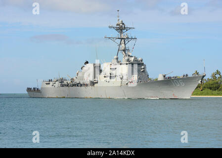 USS Stockdale arrives at Joint Base Pearl Harbor-Hickam, Hawaii. - Stock Photo