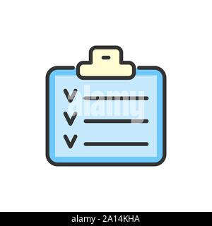 Vector check list, planner, schedule, notebook flat color line icon.