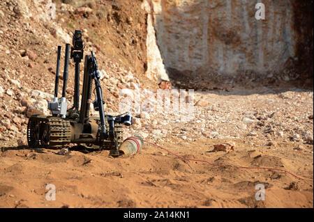 A Talon explosive ordnance disposal robot. - Stock Photo