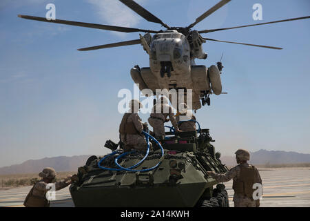Marines participate in an external aerial lift exercise. - Stock Photo