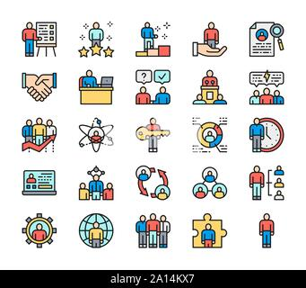 Set of Human Resources Flat Color Line Icons. Employee, Freelancer and more. - Stock Photo