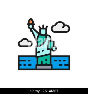Vector Statue of Liberty, USA, landmark flat color line icon. - Stock Photo