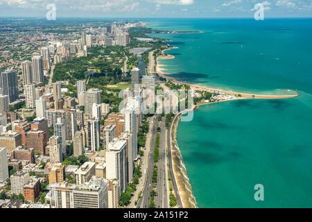 Chicago, Illinois, USA - City view from John Hancock Center observation level - Stock Photo