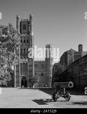 Ely Cathedral and cannon from Palace Green Ely Cambridgeshire England - Stock Photo