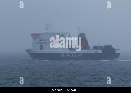 Douglas Isle Of Man 24th September 2019 Isle of Man Ferry Ben My Chree leaves Douglas for Heysham before disappearing into the mist Credit: Photographing_North/Alamy Live News - Stock Photo