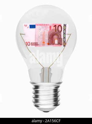 Lightbulb with 10 Euro banknote inside – cost of energy concept - Stock Photo
