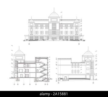 Multistory building section, detailed architectural technical drawing, vector blueprint - Stock Photo