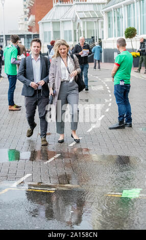Brighton, UK. 24th Sep 2019. Labour Party Annual Conference 2019, Brighton Centre, Brighton, England, UK. 24th. September, 2019. Wet weather welcomes Labour Party delegates and members to the Labour Party Annual Conference. Credit: Alan Beastall/Alamy Live News. - Stock Photo