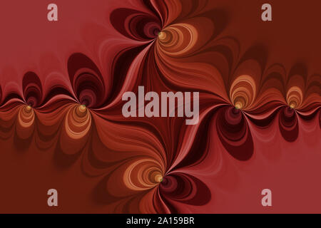 Curved lines in a cross shape with flowers, bright abstract background in a red shapes - Stock Photo