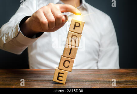 Businessman dumps prices. Cost reduction, sale and promotion. Attracting new customers, seasonal discount. Pricing on the stock exchange. Artificial p - Stock Photo