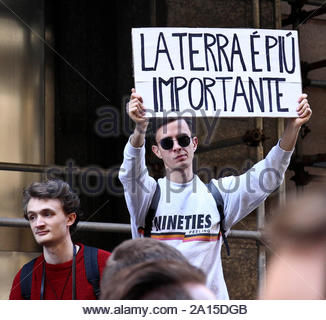 fridays for future, young people in the streets for the demonstration in defense of the environment, turin 15.03.2019 - Stock Photo
