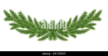 Christmas and New year realistic garland of fir branches. Vector Illustration - Stock Photo