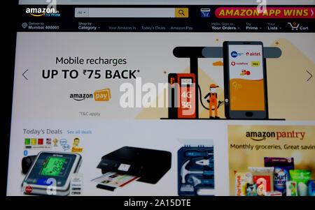 amazon - Online Shopping site - Stock Photo