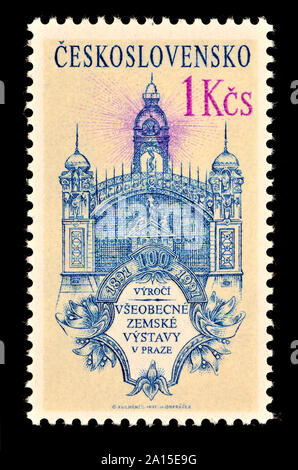Czechoslovakian postage stamp (1991) : 100th anniversary of the Prague Exhibition in 1891 at Výstaviště exhibition hall - Stock Photo