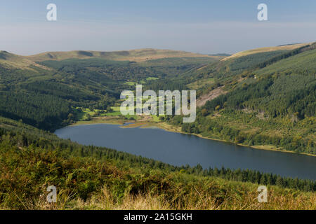 View up the Talybont Valley from Bwlch y Waun in the Brecon Beacons National Park South Wales - Stock Photo