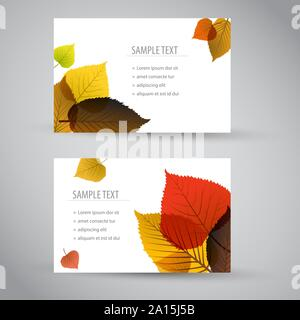 Fresh natural fall vector vertical banners or cards with leafs and sample text - Stock Photo