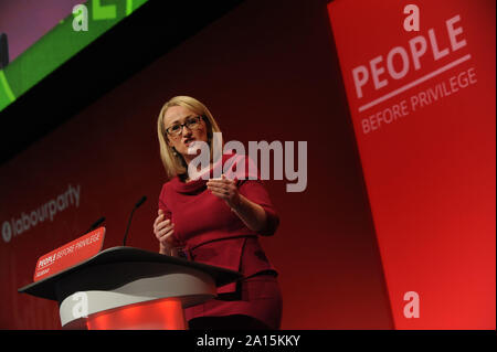 Brighton, UK. 24th Sep, 2019. Rebecca Long-Bailey, Shadow Secretary of State for Business, Energy and Industrial Strategy, delivers her speech to delegates, during the fourth day of the Labour Party annual conference at the Brighton Centre. Credit: Kevin Hayes/Alamy Live News - Stock Photo