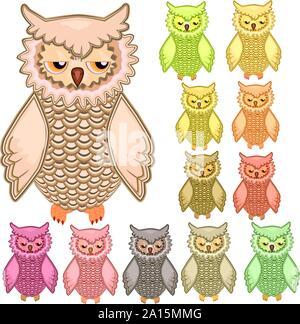 Set of twelve colourful owls isolated on white - Stock Photo