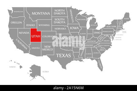 United States of America map and Utah territory isolated on ...