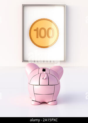 Rendering of pink robot piggy bank in front of coin in a frame - Stock Photo